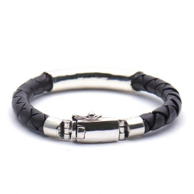 Silver Leather Bracelet For Men