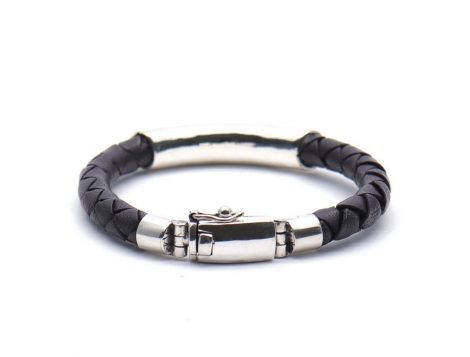 Silver Leather Bracelet For Men